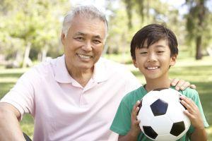 2014.09 Asian grandfather + boy + soccer ball